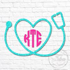 Glitter Nurse Heart Stethoscope Monogram Decal Sew Southern Designs