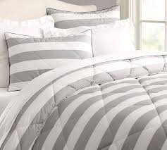 grey and white striped comforter set