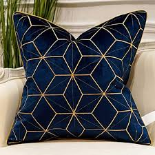Amazon Com Avigers 18 X 18 Inches Navy Blue Gold Plaid Cushion Case Luxury European Throw Pillow Cover Decorative Pillow For Couch Living Room Bedroom Car Home Kitchen