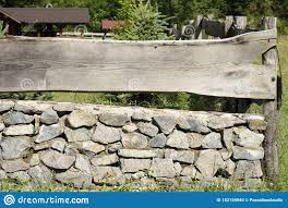 Old Wooden And Stone Fence Stock Photo Image Of Design 152159940