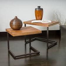 blaine wood finish nesting tables set