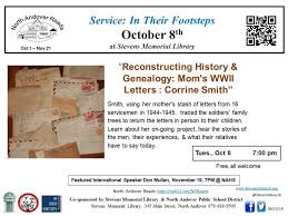 StevensMemLib NAR: Mom's WWII Letters with Corrine Smith TUE 10/8 @ 7PM –  North Andover News