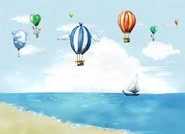 تصميم ابداعي بالونات مع شاطئ البحر وسفن وسحاب ملف مفتوح فوتوشوب Psd
