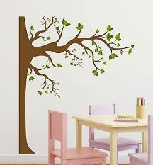 Brown Tree With Green Leaves Decal Mural Wall Stickers Home Decor Diy Room Decor Ebay
