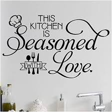 Amazon Com This Kitchen Is Seasoned With Love Silverware And Chef Hat Wall Decal Vinyl Lettering Decals Quote Sticker 21 H X 35 W Black Home Kitchen