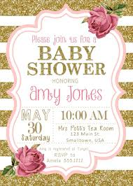 Baby Shower Invitation Pink And Gold Baby Shower Girl Baby