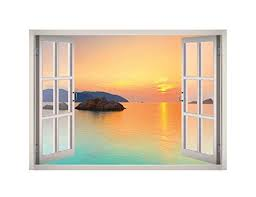 Island Sunset View Window 3d Wall Decal Art 3d Wall Decals Decal Wall Art Mural Wallpaper