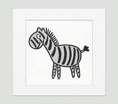 Kids Wall Art Blackgrey Zebra Kids Room And Nursery Decor Etsy