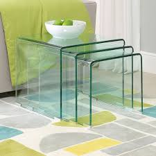 geo glass clear large nest of 3 tables