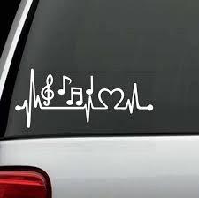 Music Notes Heartbeat Love Window Decal Sticker Custom Sticker Shop