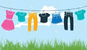 Clothes On Washing Line Against Blue Sky And Green Grass Royalty ...