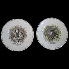 brown polychrome transferware plates