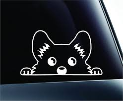 Amazon Com Expressdecor Corgi Peeking Dog Symbol Decal Funny Car Truck Sticker Window White Automotive