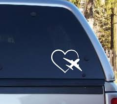 Love To Fly Heart Plane Decal Window Decal Aircraft Decal Anthem Graphix