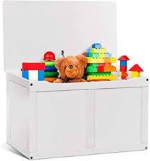 Amazon Com Costzon Wooden Kids Toy Storage Chest Organizer Children Large Storage Cabinet Bench With Flip Top Lid 2 Safety Hinge Toddler Room Organizer Box For Playroom Home White Kitchen Dining