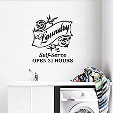 Amazon Com Fsds Wall Vinyl Decal Laundry Room Sticker Self Serve Logo Decal Laundry Room Decor Open Hours Poster Art Home Kitchen
