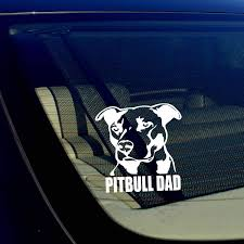 Amazon Com Owntheavenue Pitbull Dad Decal Sticker Car Window Bumper Wall I Love My Rescue Dog 12 Inches Automotive