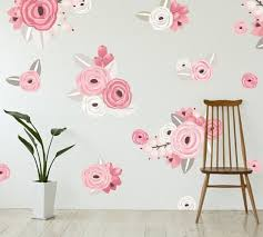 Pink White Graphic Flowers Wall Decal Pottery Barn