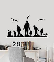 Vinyl Wall Decal Zombie Cemetery Crosses Grave Corpse Death Horror Sti Wallstickers4you