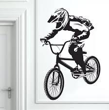 Bmx Bike Bicycle Biker Boys Wall Decal Art Decor Sticker Vinyl Mural 35 4inx23 2in Vinyl Film For Car Vinyl Sticker For Carsvinyl Aliexpress