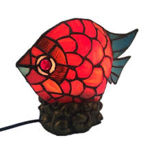 Red Fish Shaped Table Light With Plug In Cord Lovely Stained Glass Table Lamp For Child Bedroom Beautifulhalo Com