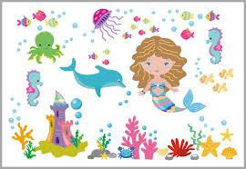 Mermaid Ocean Peel And Stick Wall Decal Girl S Themed Nursery Decor Nurserydecals4you