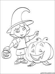 Leuke Kleurplaat Dora Viert Halloween Gratis Kleurplaten