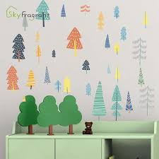 Nordic Cartoon Forest Art Wall Sticker Living Room Decorative Self Adhesive Rural Stickers Kids Room Decoration Home Wall Decor Leather Bag