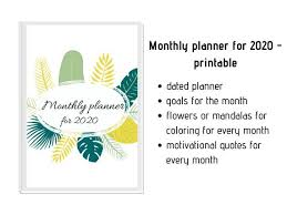 monthly planner for printable