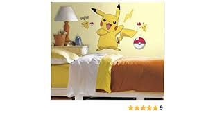 Amazon Com Unbranded Pikachu Wall Stickers Pokemon Mural 12 Decals Room Decor Pokeball 28 X29 Toys Games