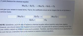 point balance the chemical equation