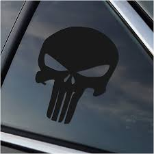 Amazon Com Stick Emall Punisher Vinyl Decal White Or Silver Metallic Matte Black Automotive