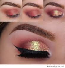 red gold eye makeup step by step