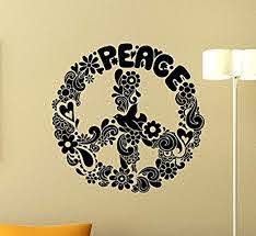 Amazon Com Floral Peace Sign Wall Decal Peace Symbol Vinyl Sticker Pacifism Wall Art Design Living Room Wall Decor Housewares Kids Boy Girl Teen Room Bedroom Decor Removable Wall Mural 11rt Home