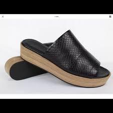 Vince Shoes | Wood Platform Snake Slides Sandals Wedges | Poshmark