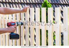 Building Wooden Fence Drill Screw Close Buildings Landmarks Stock Image 432755503