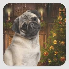 Christmas Pug Stickers Zazzle Com