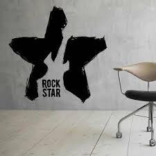 Guitar Star Wall Decal Rock Musical Instrument Music Studio Door Window Vinyl Sticker Teens Bedroom Home Decor Wallpaper Q818 Wall Stickers Aliexpress