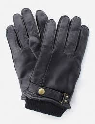 ribbed cuff men s leather gloves black