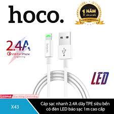 Cáp sạc Lightning Hoco UPL12 cho iPhone/iPad, iPhone XS max, iPhone 11,  iPhone 11 Pro max, chống rối, chống đứt có đèn LED báo sạc dài 30cm