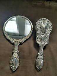 vintage antique hand held mirror rose