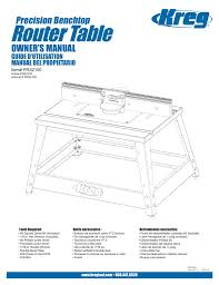 Router Table Precision Benchtop Owner S Manual Guide D Utilisation Manualzz