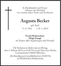 Anzeige von Augusta Becker | SZ-Gedenken.de