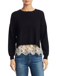 Iva Long Sleeve Lace Detail Sweater In Black Soft White | Detailed sweater,  Long sleeve lace, Alice and olivia