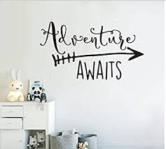 Amazon Com Art Travel Theme Decal Adventure Awaits Quote Arrow Vinyl Wall Decals Living Room Decor Wall Sticker Art Adventure Mural For Kids Bedroom Ny 360 Black 42x76cm Baby