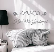 Wall Decal Romantic Kiss Me Goodnight Bedroom Vinyl Decor Grey 22 5 In Wallstickers4you