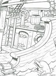 Kids N Fun Kleurplaat Piet Piraat Schip Met Dolfijn