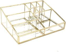 hersoo gold mirrored vanity tray glass