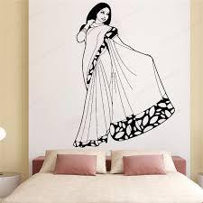 Beautiful Indian Woman In Saree Dress Wall Decal India Woman Girl Wall Sticker Home Decor Hj895 Wall Stickers Aliexpress