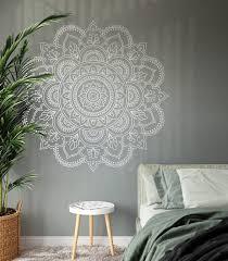 Mandala Wall Art Sticker Half Mandala Wall Decal Large Vinyl Etsy In 2020 Decal Wall Art Mandala Wall Decor Mandala Wall Art